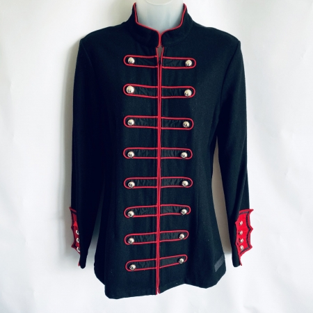 black and red mock military jacket