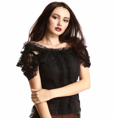black off-shoulder blouse