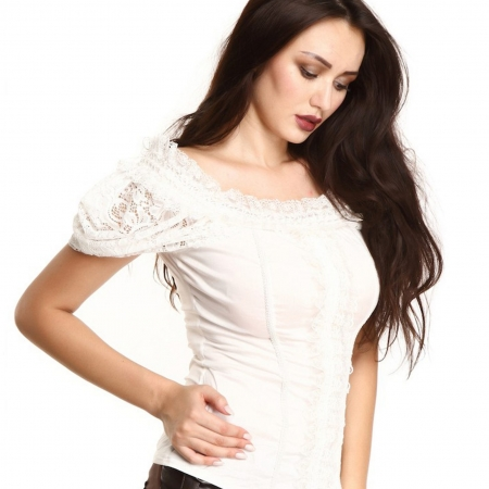 ivory lace off-shoulder blouse