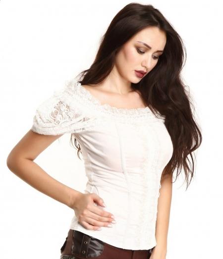 ivory lace off-shoulder blouse