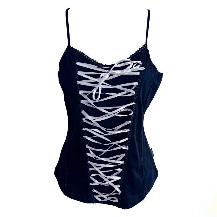 black strappy top with pale pink lacing