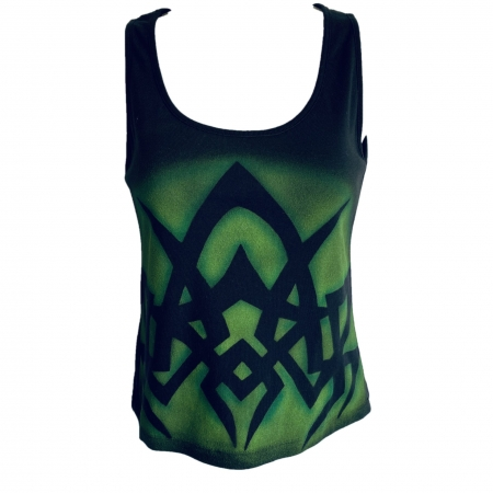 green print black vest
