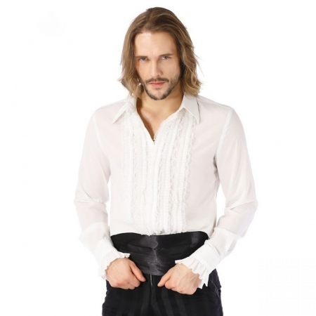 Pentagramme white 5 frill front shirt