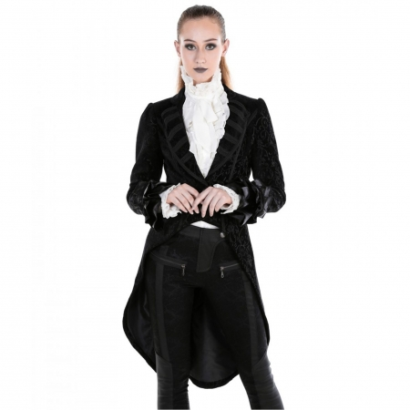women's gothic brocade tail jacket
