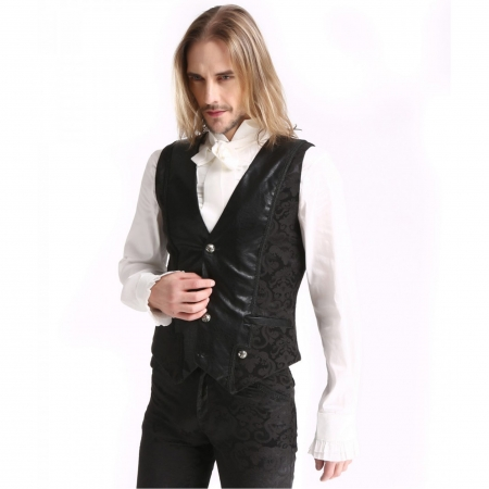 black brocade & faux leather waistcoat