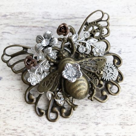 steampunk bee and butterfly brooch