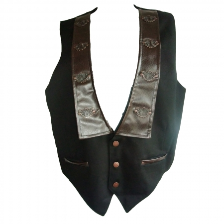 SDL waistcoat with brown faux leather collar