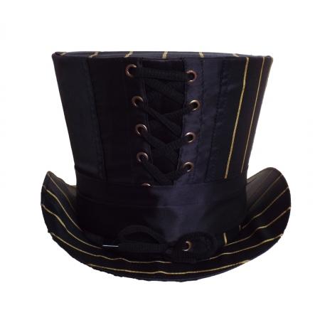 Black gold stripe high top hat