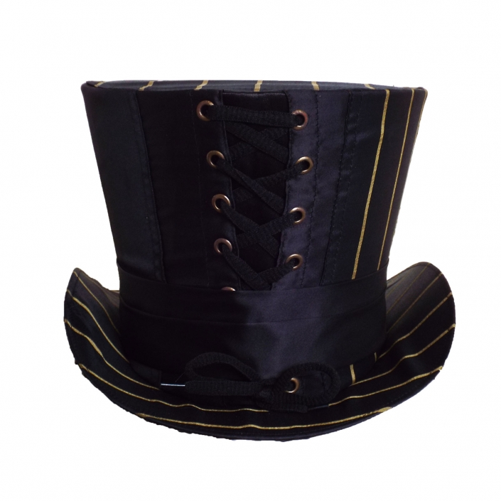 Black gold stripe high top hat