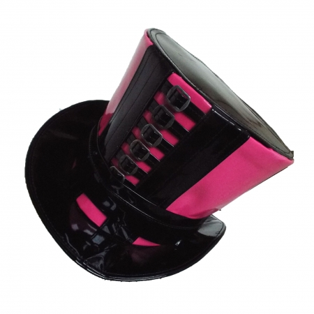 Pink and black PVC top hat