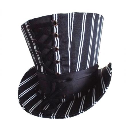 Black top hat white stripe
