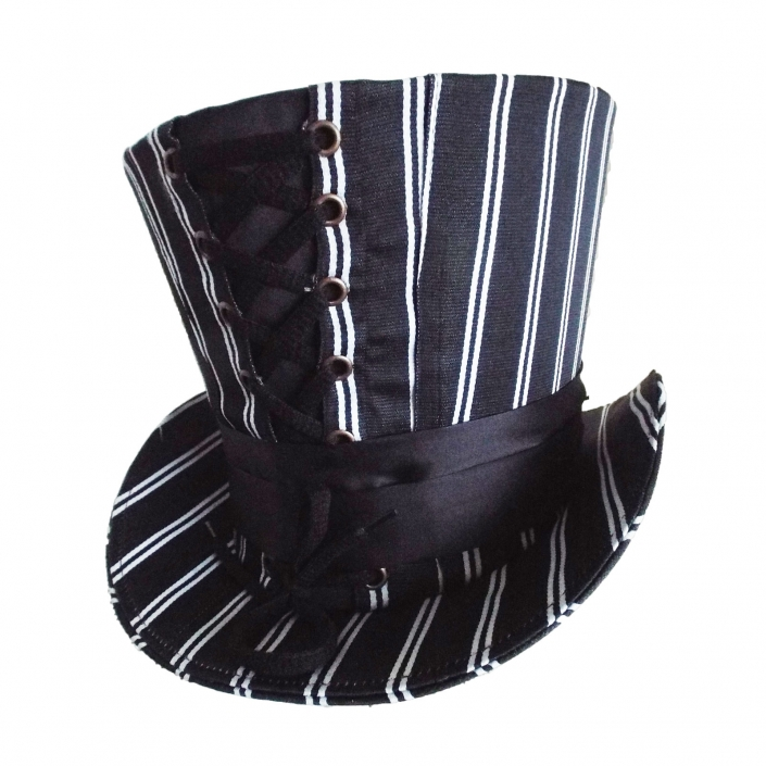 Black top hat white stripe