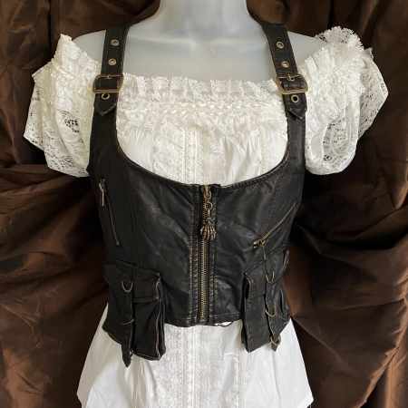 Brown faux leather steampunk waistcoat