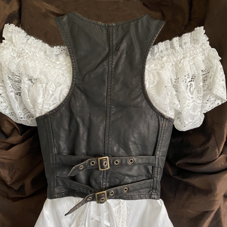 Brown faux leather waistcoat (back)