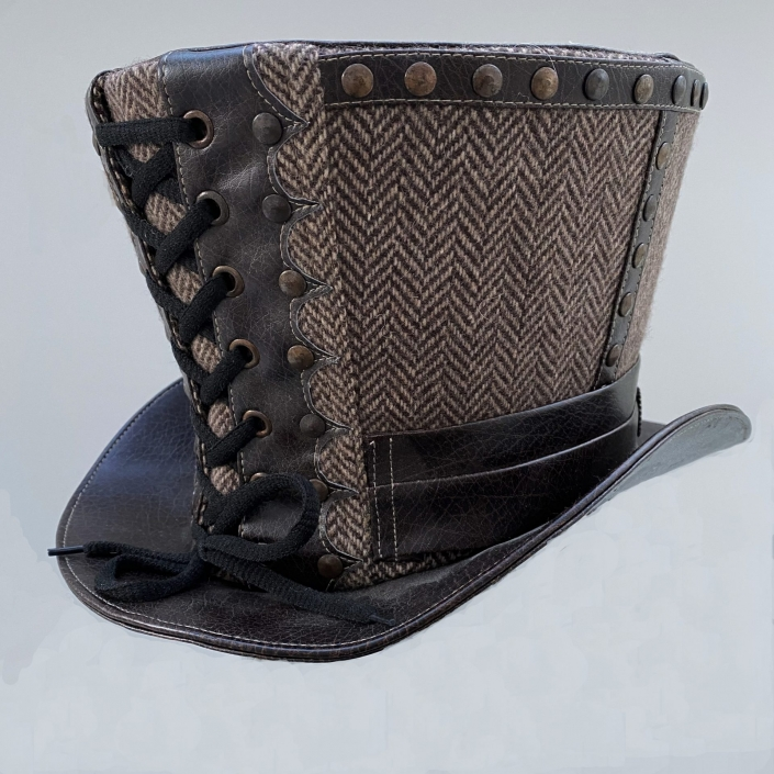 Brown herringbone hat (front)