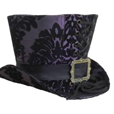 purple black flocking high top hat