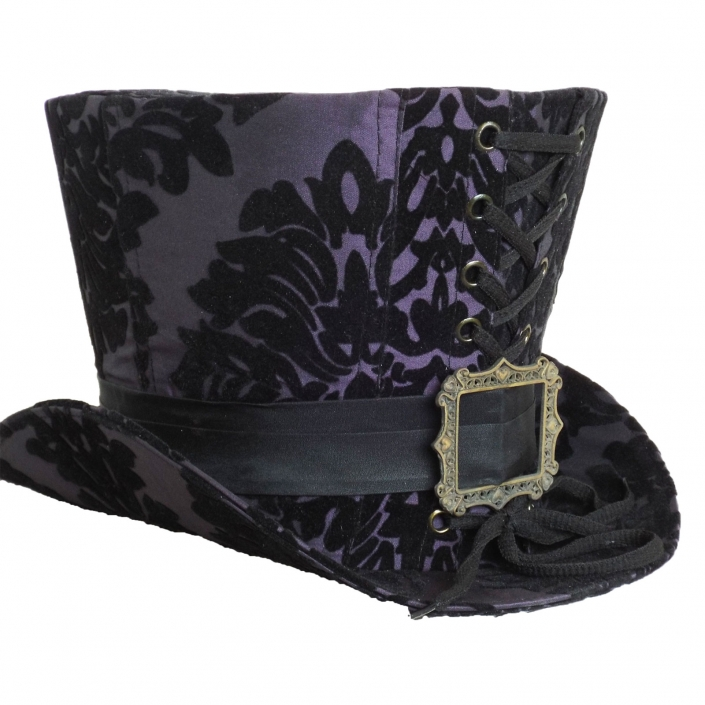purple black flocking high top hat