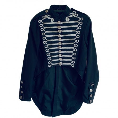 Black military tail jacket.silver braid