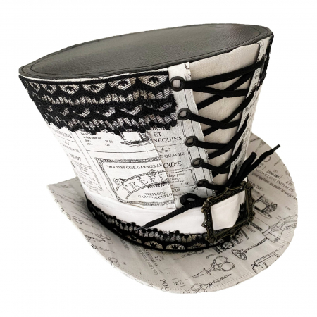 White with black high top hat